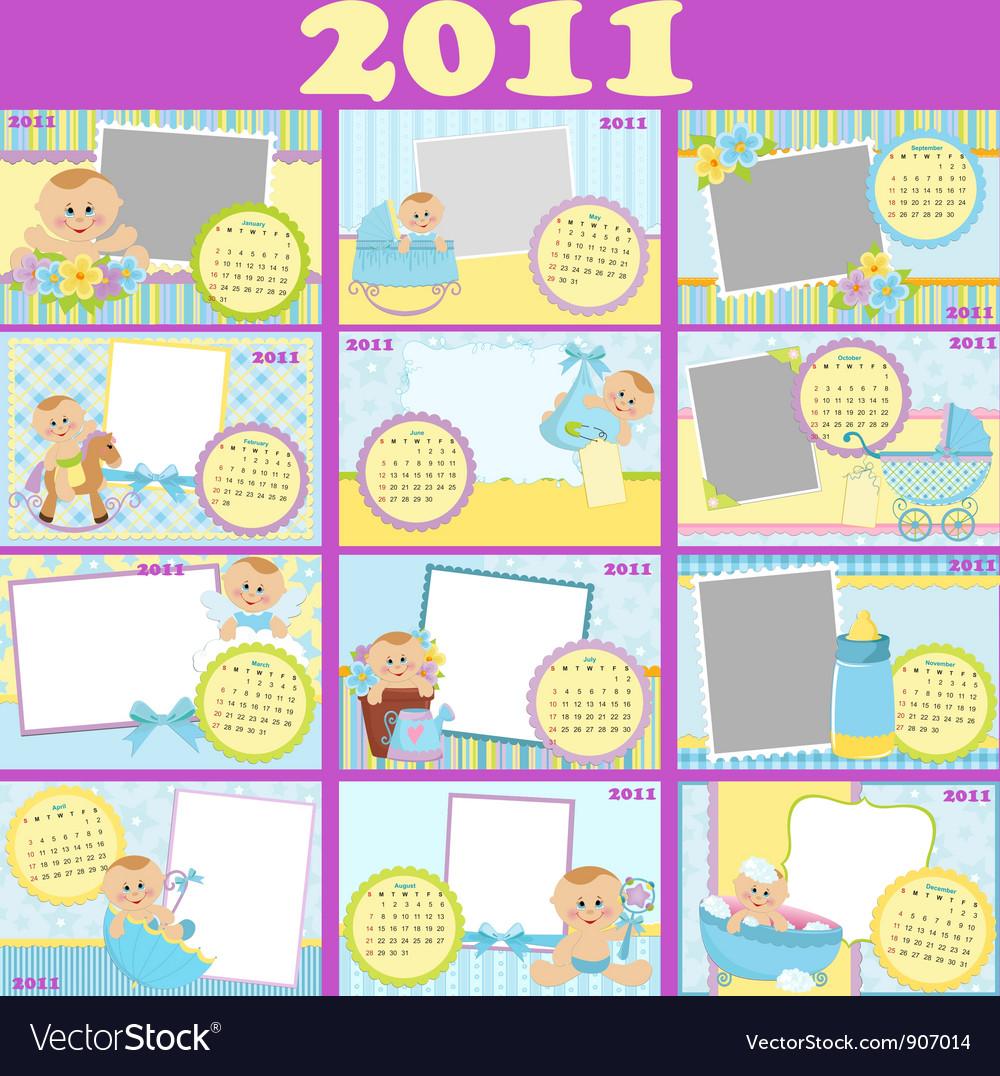 Babys calendar for 2011 vector   Price: 1 Credit (USD $1)