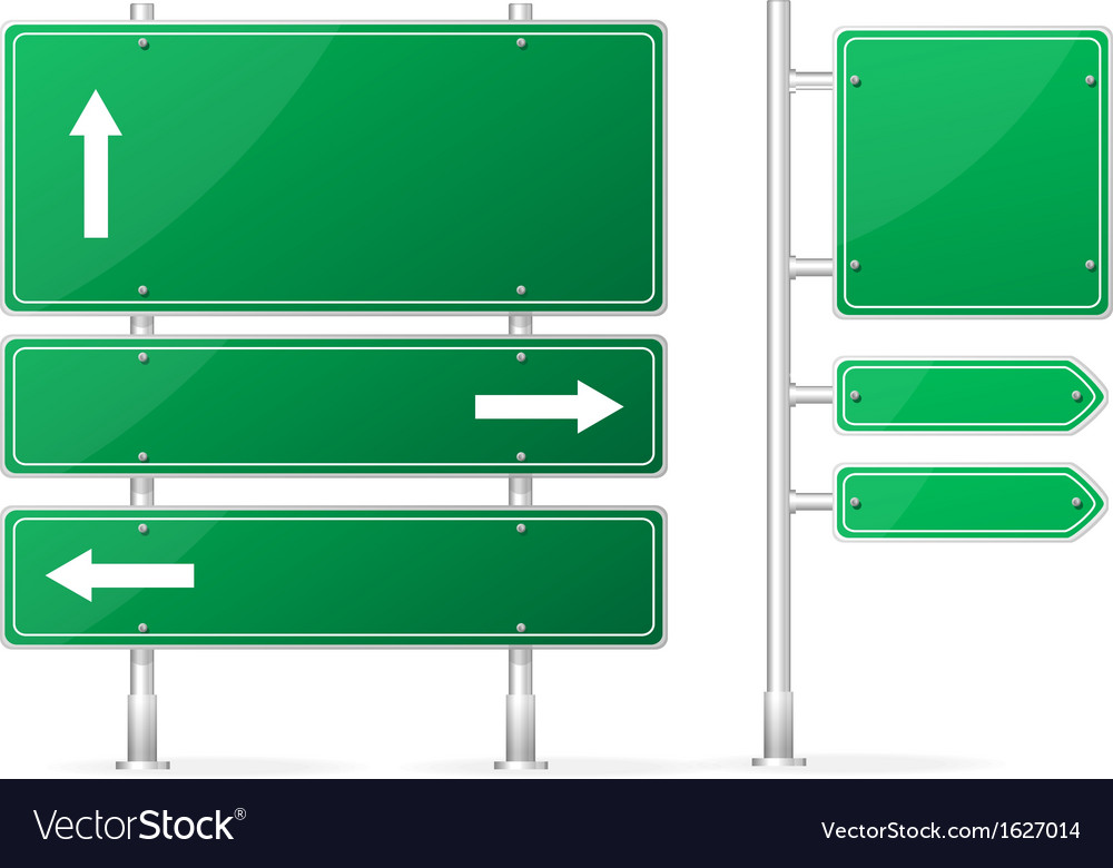 Blank green road sign vector