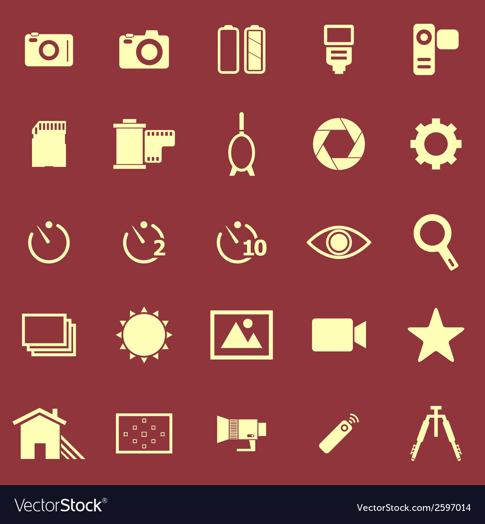 Camera color icons on red background vector | Price: 1 Credit (USD $1)