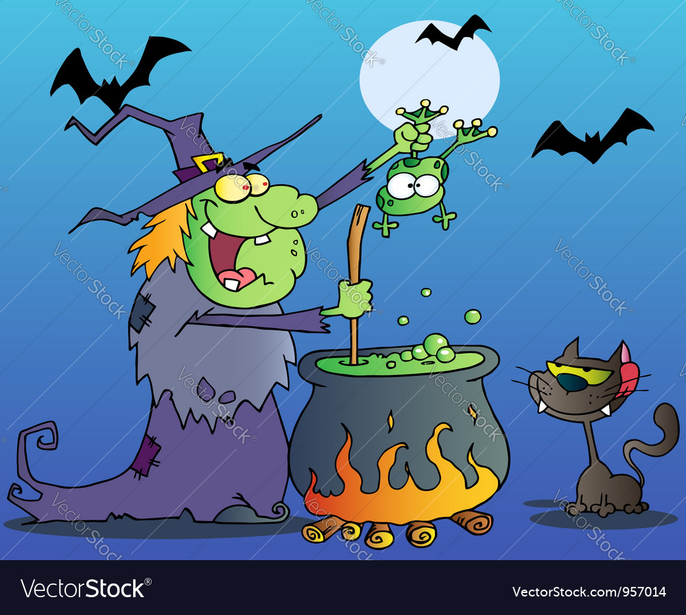 Cat watching a green halloween witch vector | Price: 1 Credit (USD $1)