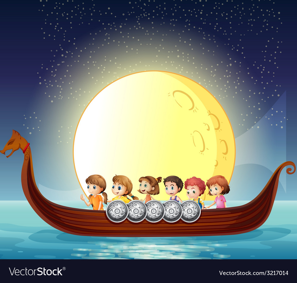 Children and boat vector | Price: 3 Credit (USD $3)