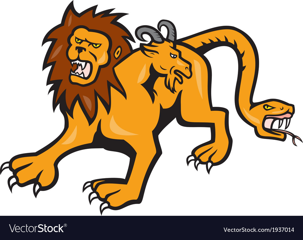 Chimera attacking front cartoon vector | Price: 1 Credit (USD $1)