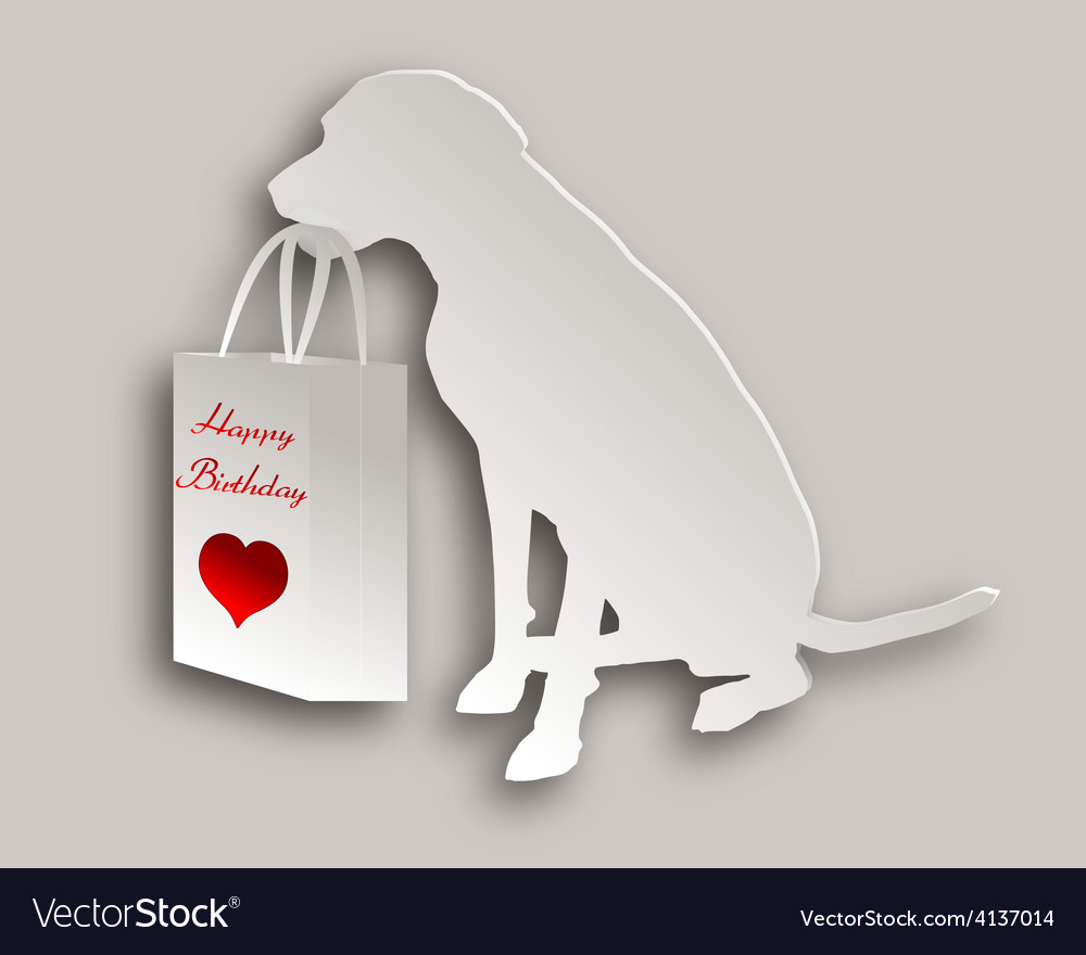 Dog with birthday gift vector | Price: 1 Credit (USD $1)