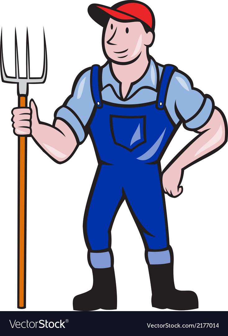 Farmer holding pitchfork standing cartoon vector | Price: 1 Credit (USD $1)