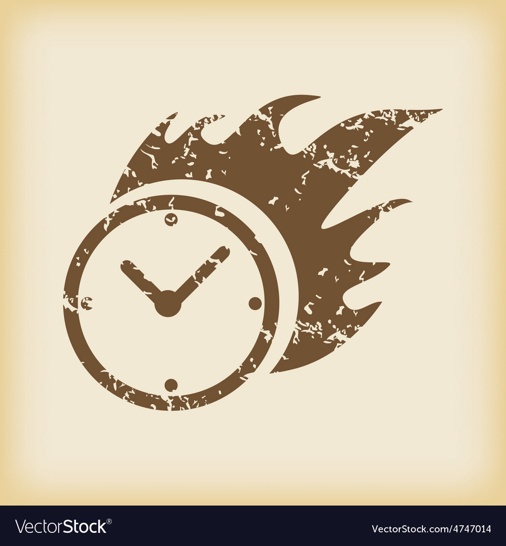 Grungy burning clock icon vector | Price: 1 Credit (USD $1)