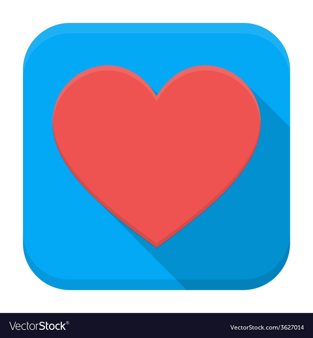 Heart app icon with long shadow vector | Price: 1 Credit (USD $1)