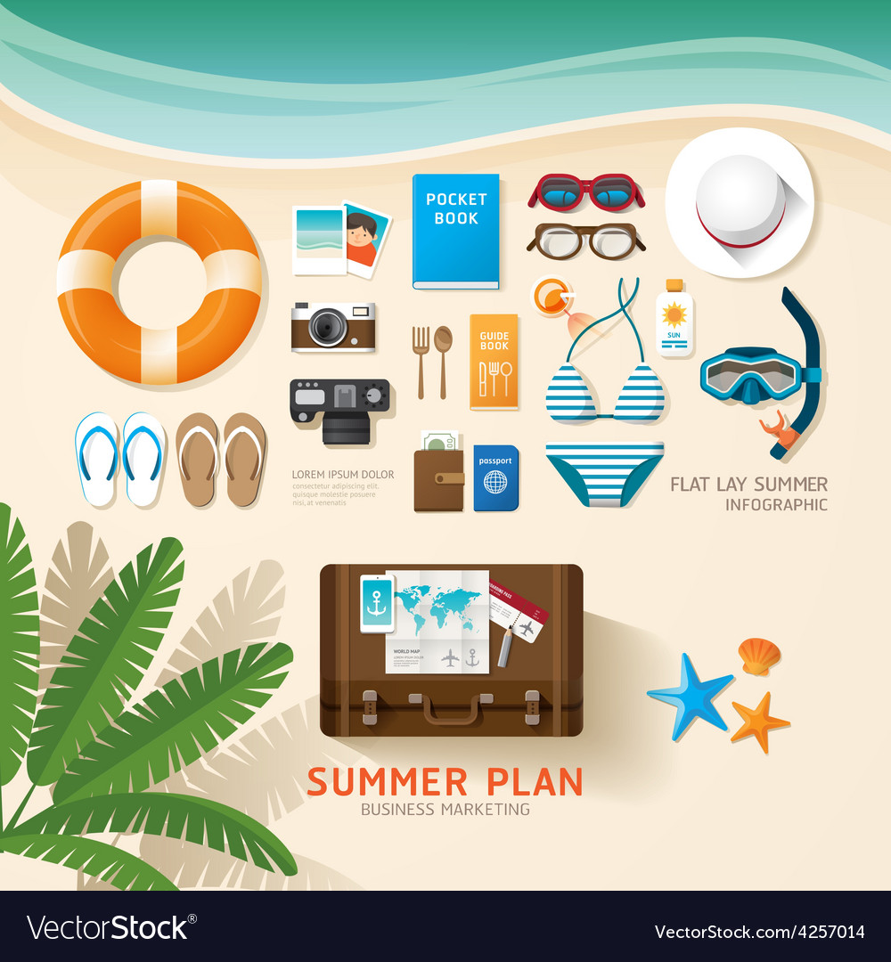 Infographic travel planning a summer vacation vector | Price: 3 Credit (USD $3)