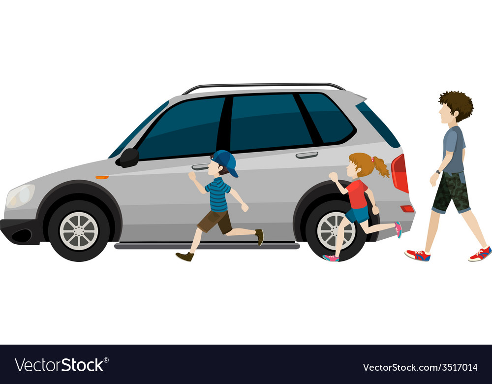 Kids running near the parked vehicle vector | Price: 1 Credit (USD $1)