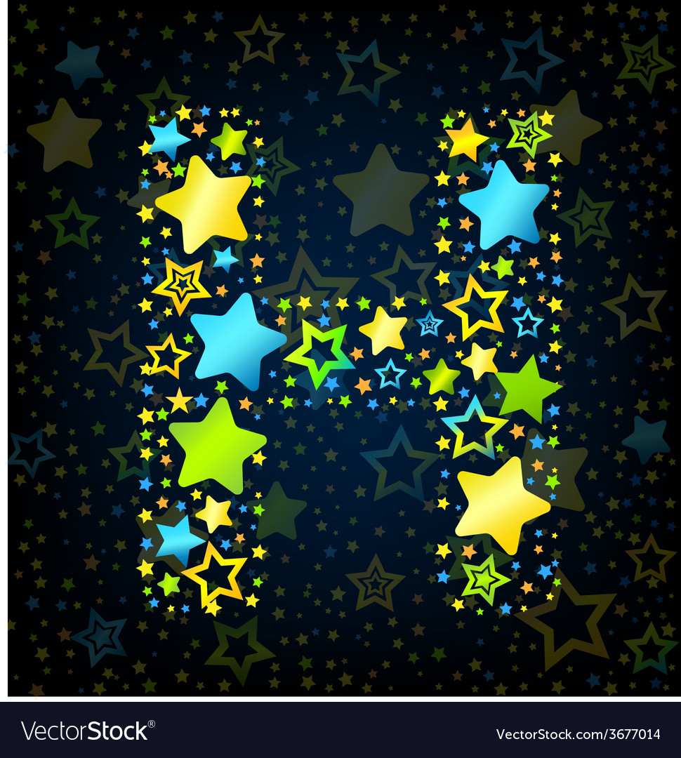 Letter h cartoon star colored vector | Price: 1 Credit (USD $1)