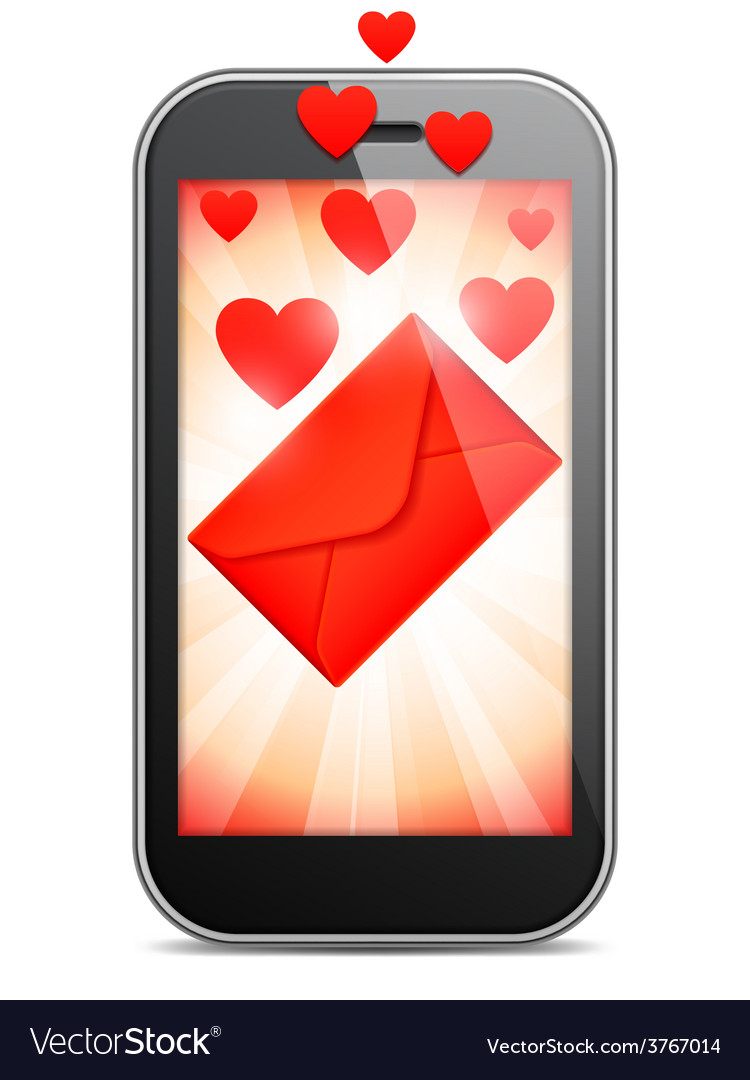 Mobile love letter vector | Price: 1 Credit (USD $1)