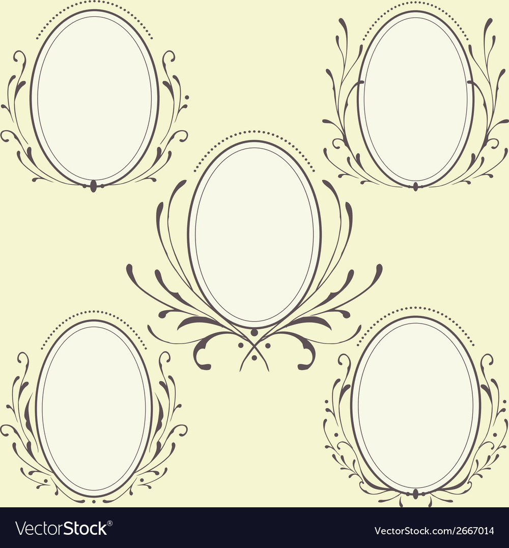 Oval floral frames ornament vector | Price: 1 Credit (USD $1)