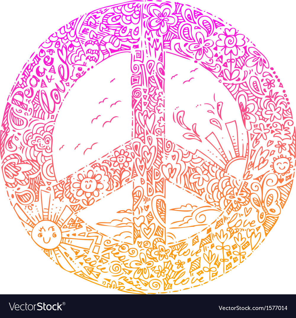 Pink peace symbol sketched doodles vector | Price: 1 Credit (USD $1)
