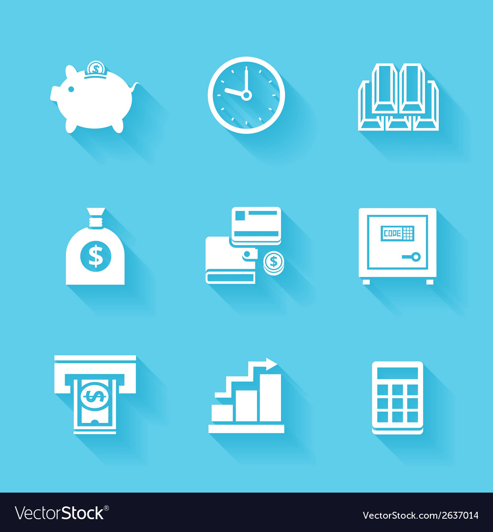 Set of white finance and money icons vector | Price: 1 Credit (USD $1)