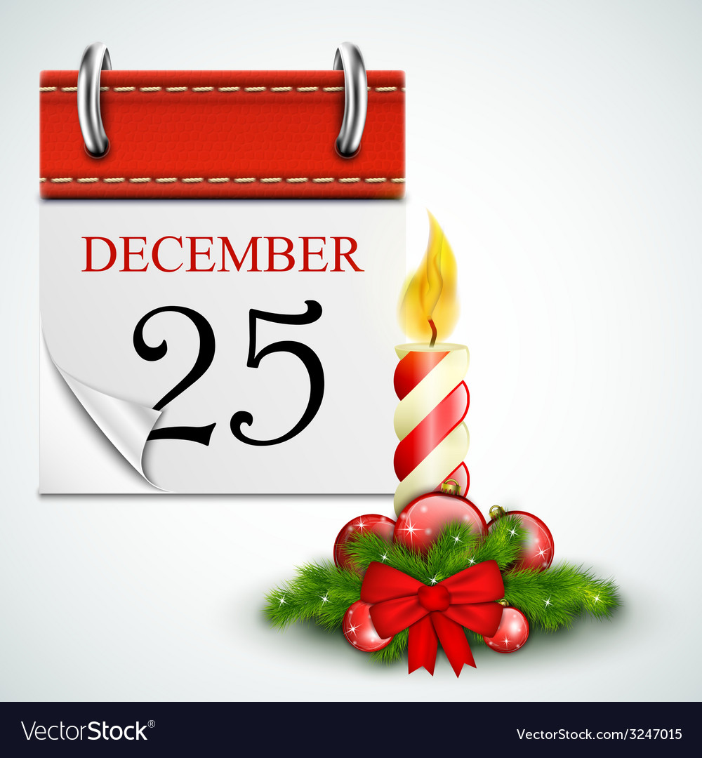 25 december opened calendar with candle vector | Price: 3 Credit (USD $3)