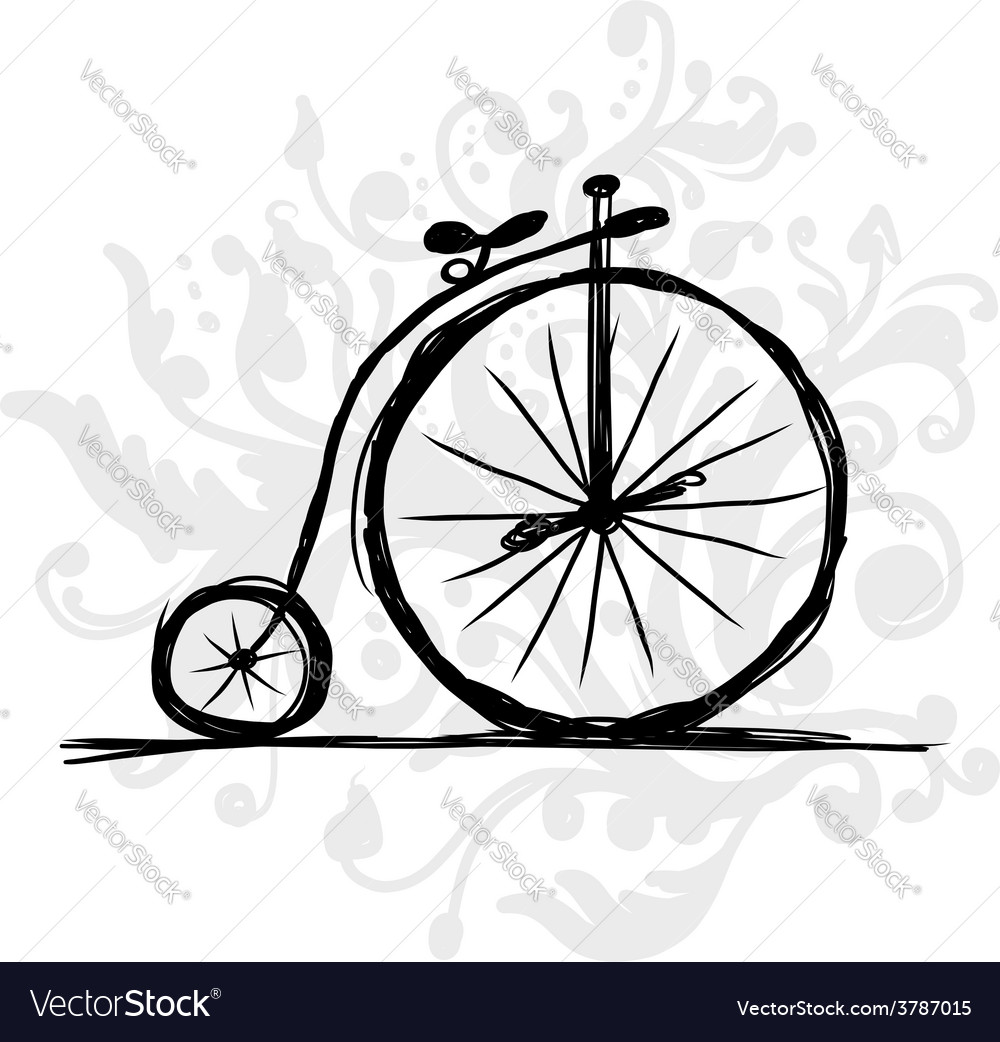 Bicycle retro sketch for your design vector | Price: 1 Credit (USD $1)