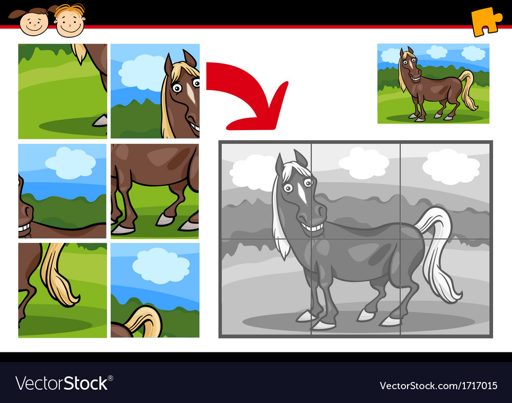 Cartoon horse jigsaw puzzle game vector | Price: 1 Credit (USD $1)