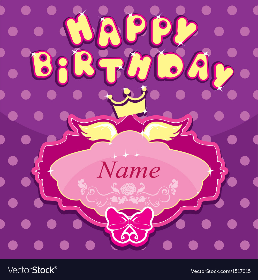 Happy birthday - invitation card for girl vector | Price: 1 Credit (USD $1)