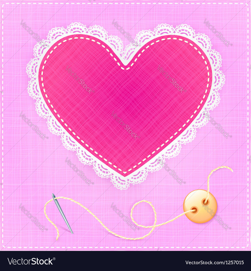 Red textile heart with lace needle and button vector | Price: 1 Credit (USD $1)