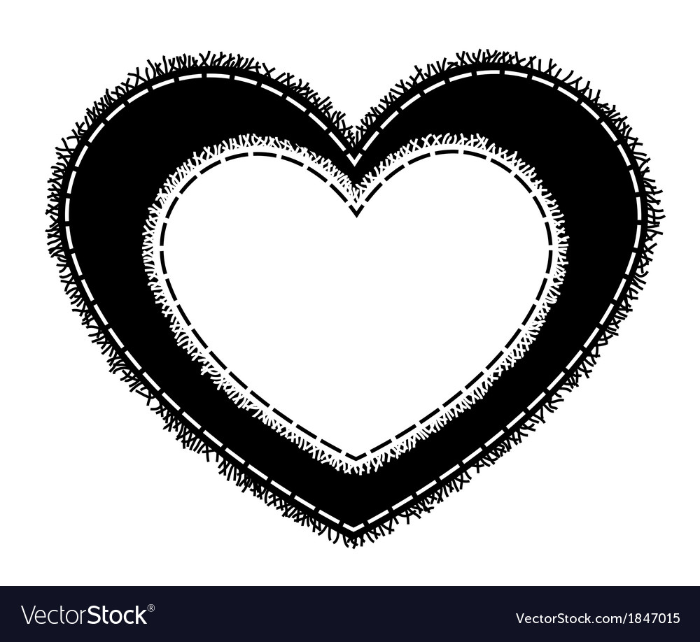 Silhouette of sewing heart with a fringe vector | Price: 1 Credit (USD $1)