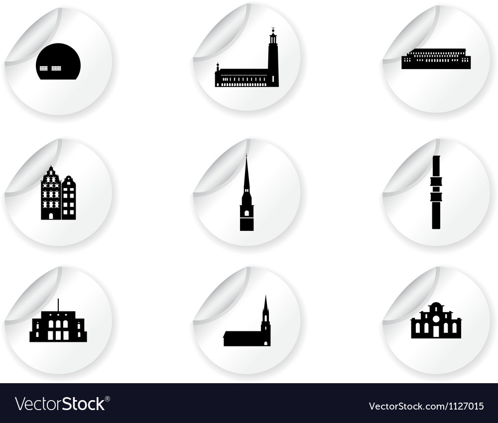 Stickers with landmark icons - stockholm vector | Price: 1 Credit (USD $1)