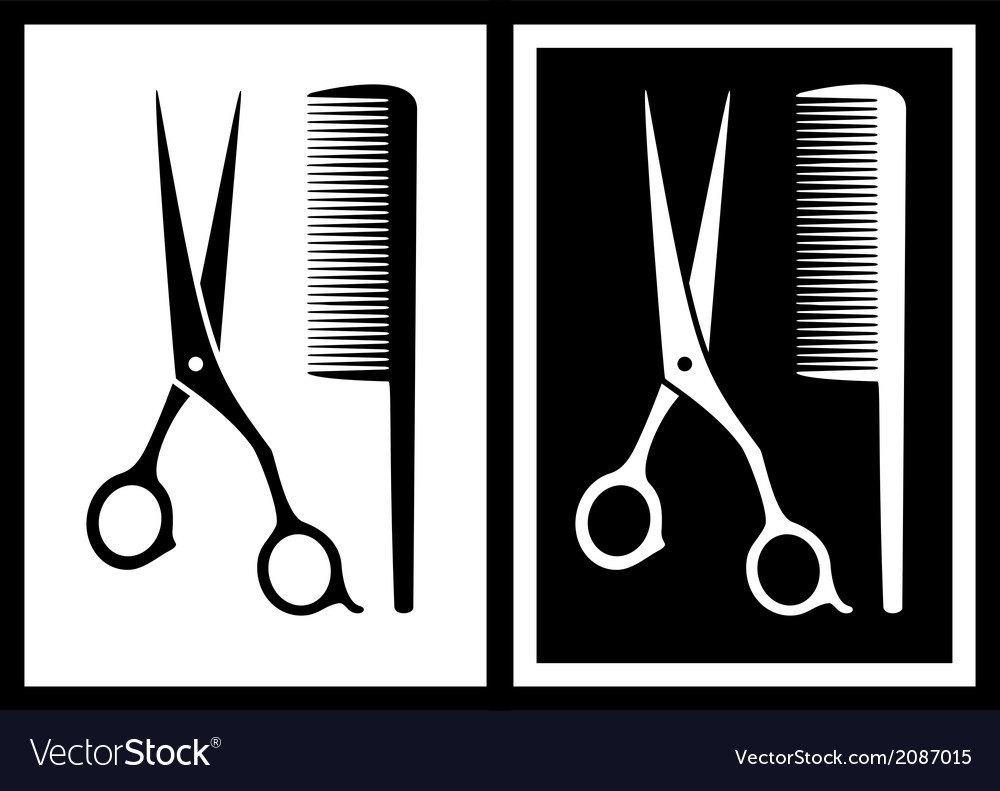 Two background with scissors and comb vector | Price: 1 Credit (USD $1)