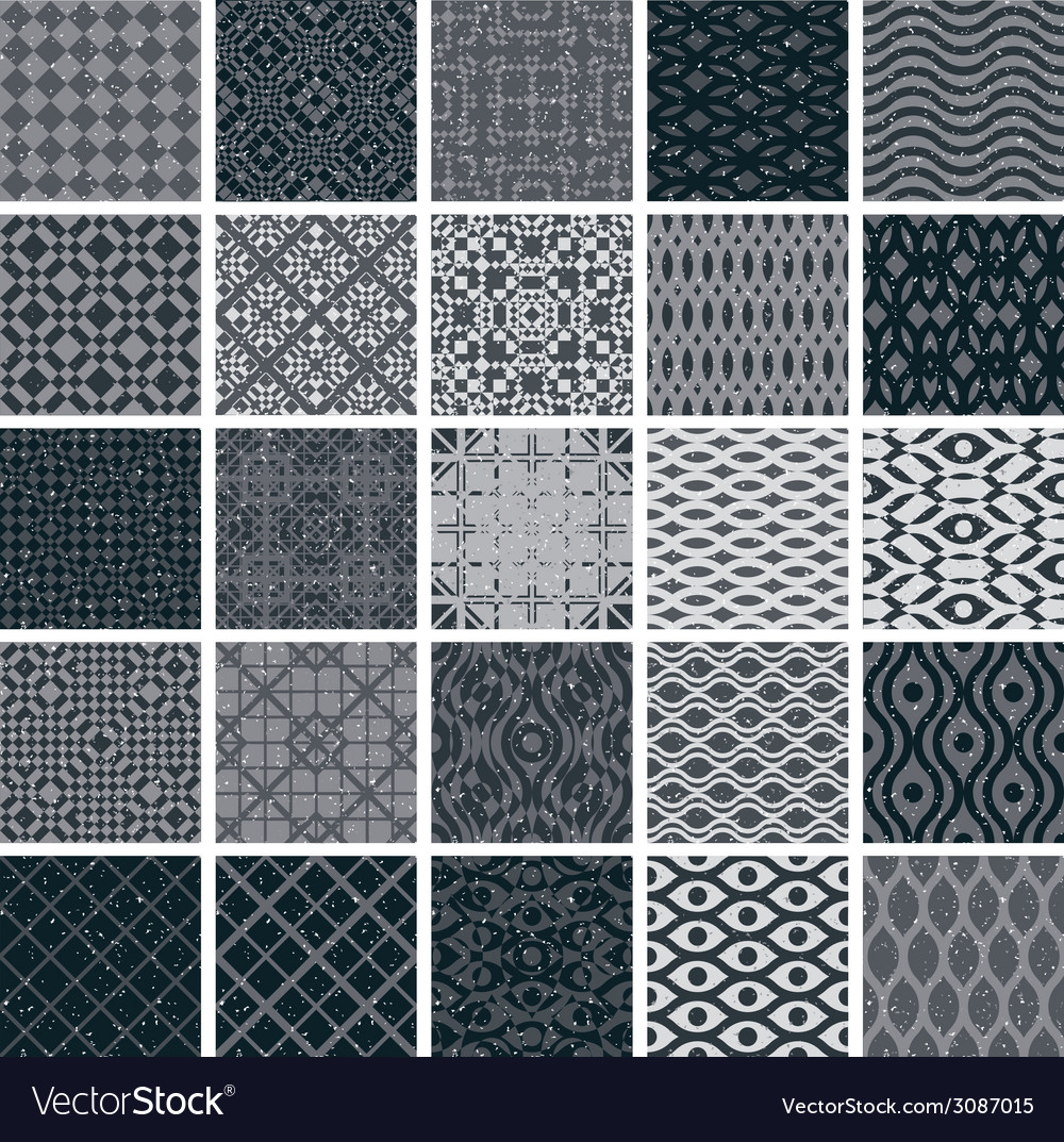 Vintage tiles seamless patterns 25 monochrome vector | Price: 1 Credit (USD $1)
