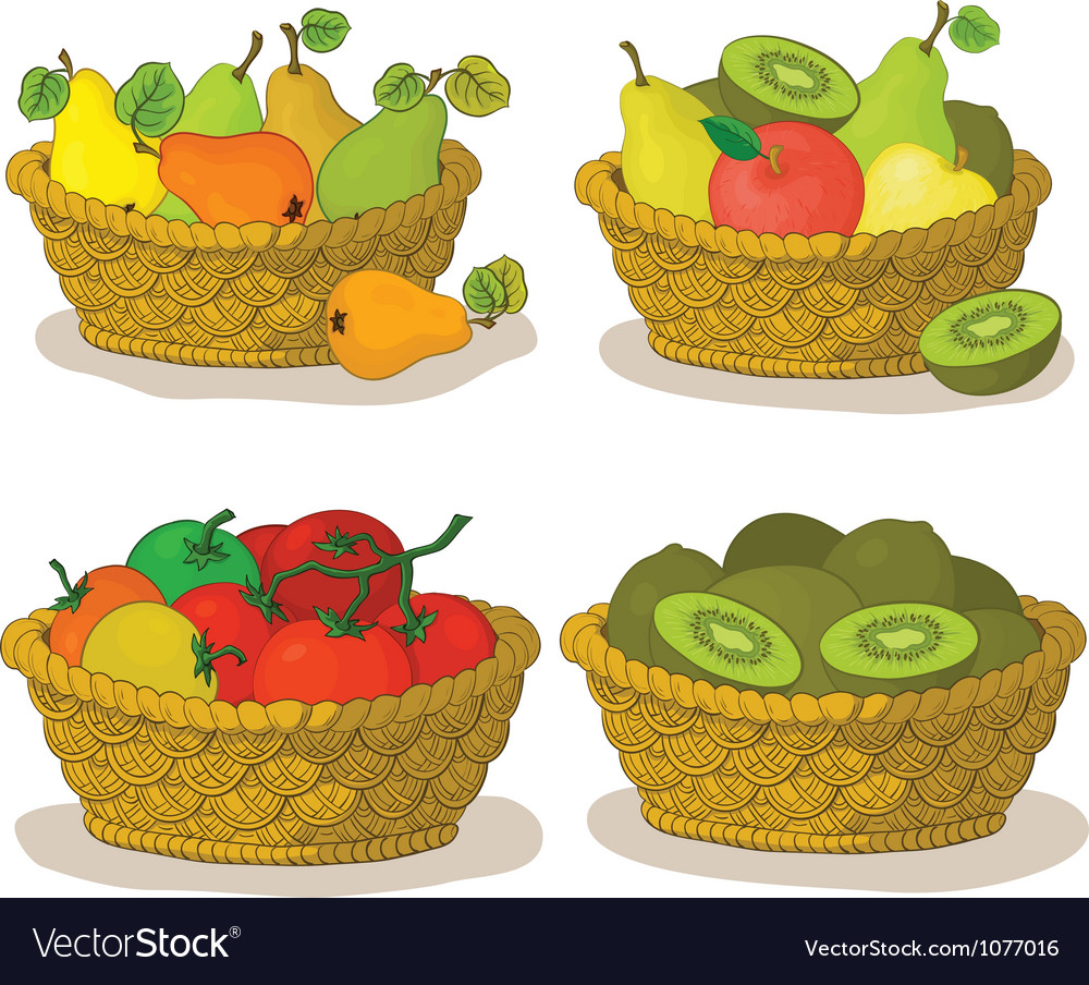 Baskets with fruits and vegetables vector | Price: 1 Credit (USD $1)
