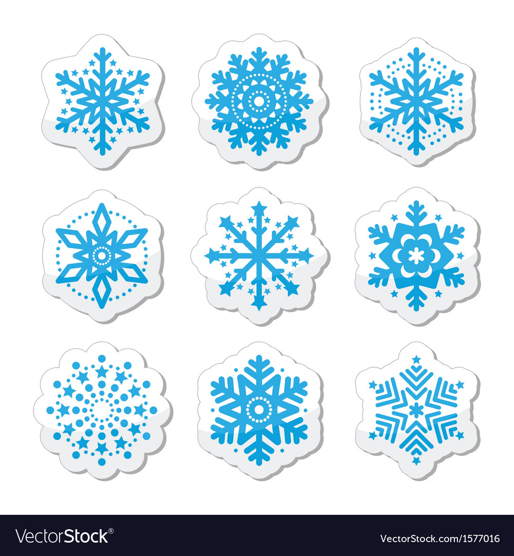 Christmas or winter snowflakes icons vector | Price: 1 Credit (USD $1)