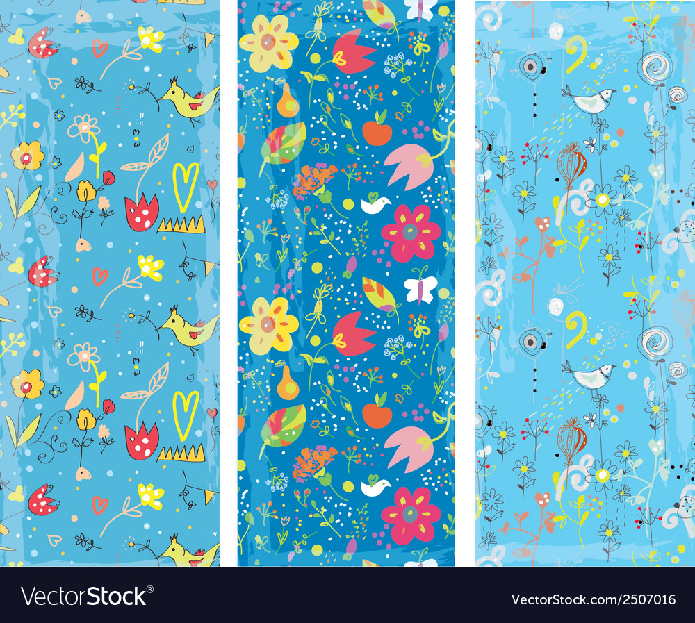 Floral vertical banners set vector | Price: 1 Credit (USD $1)