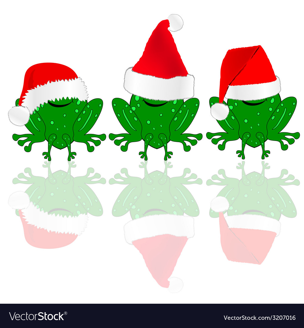 Frog with red christmas hat vector | Price: 1 Credit (USD $1)