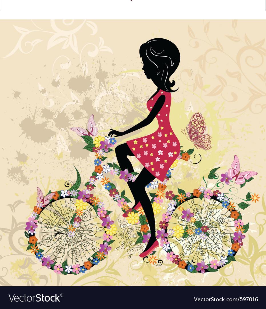 Girl on bike grunge vector   Price: 3 Credit (USD $3)