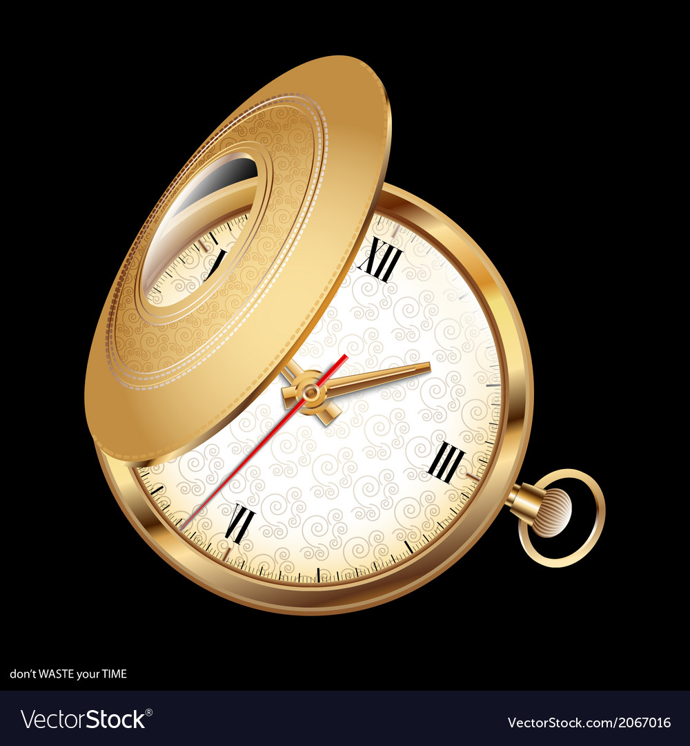 Gold chatelaine watch vector   Price: 1 Credit (USD $1)