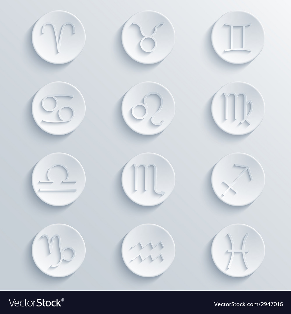 Modern signs of the zodiac circle icons vector | Price: 1 Credit (USD $1)