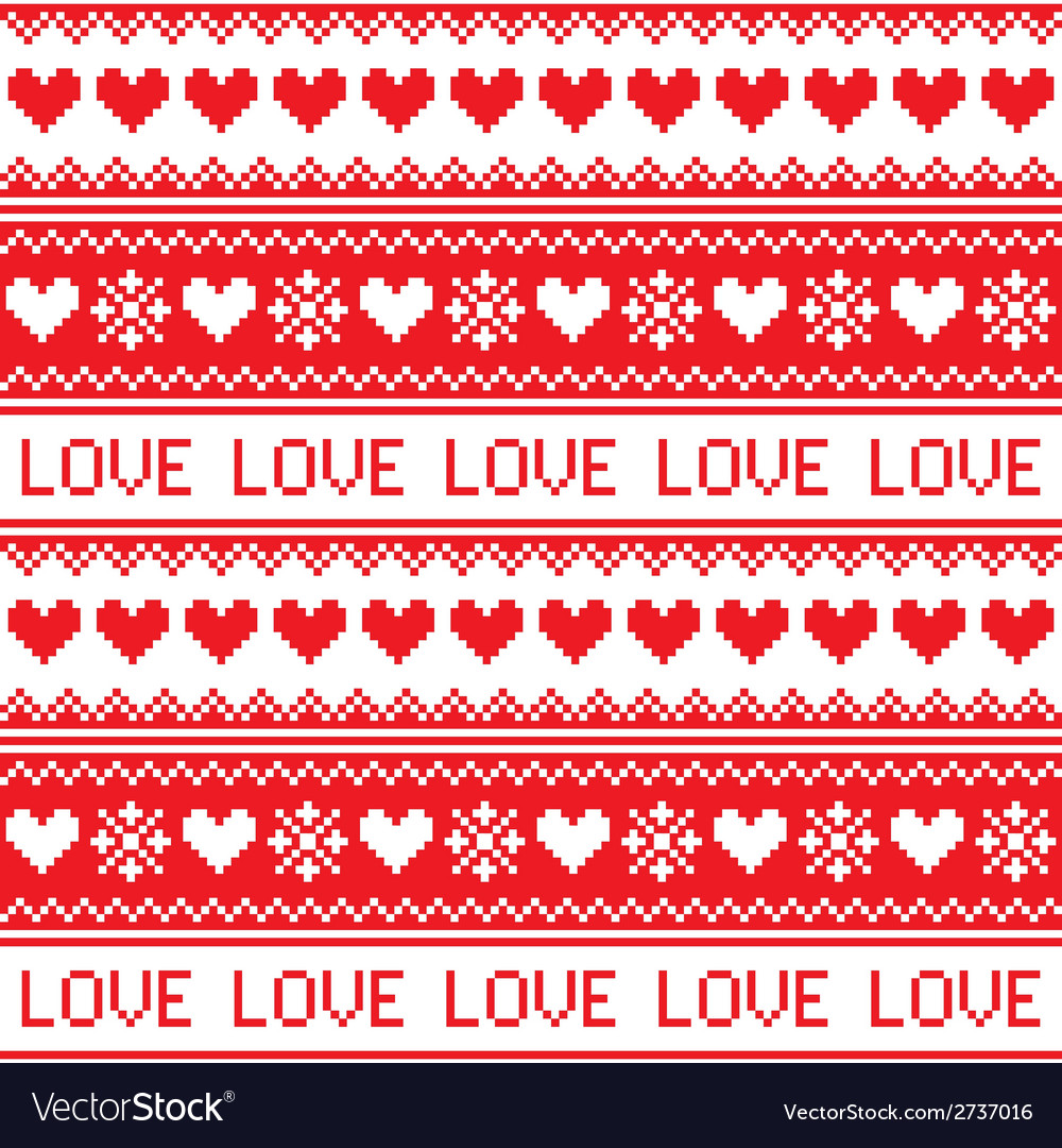 Nordic winter love seamless red heart pattern vector | Price: 1 Credit (USD $1)