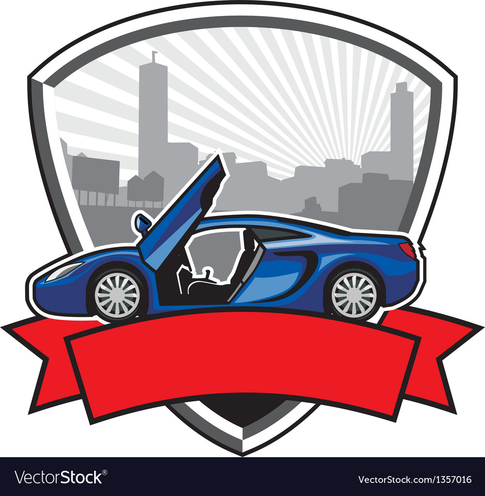 Racing car badge with city background vector | Price: 1 Credit (USD $1)