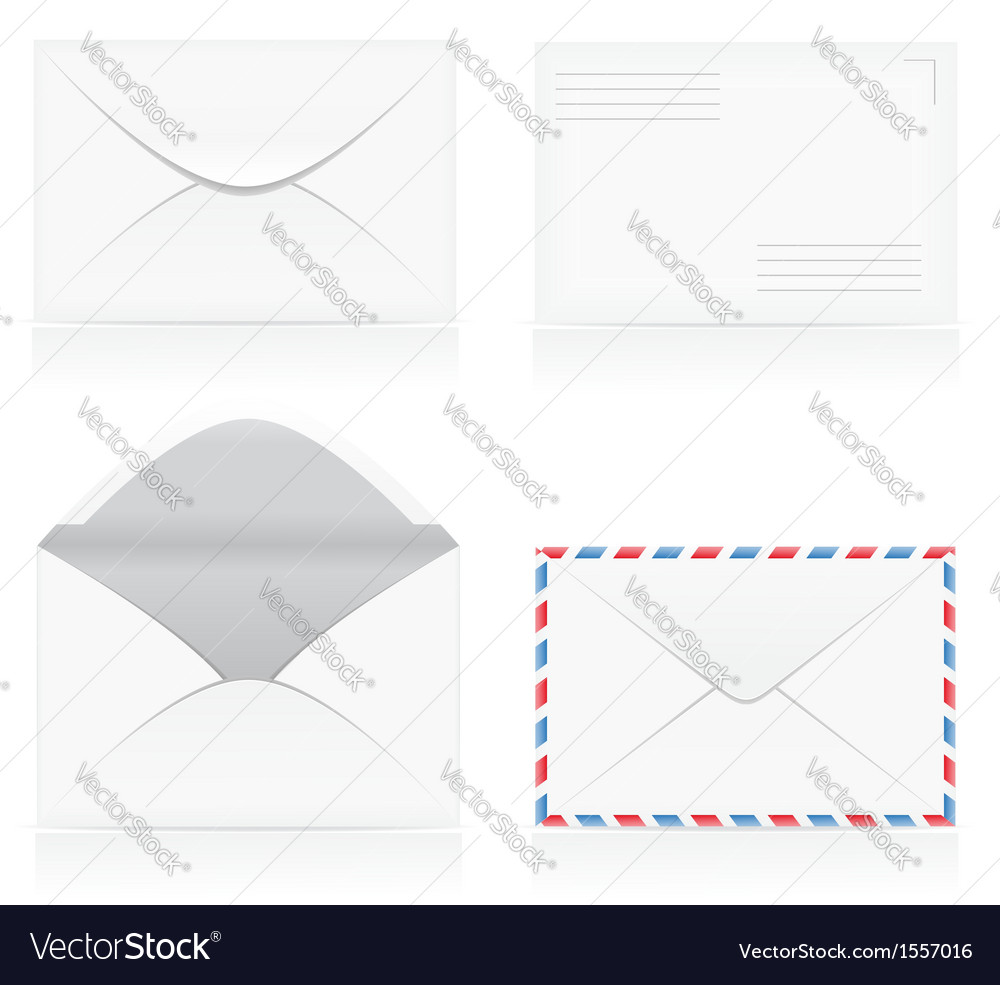 Set of white blank envelopes 01 vector | Price: 1 Credit (USD $1)