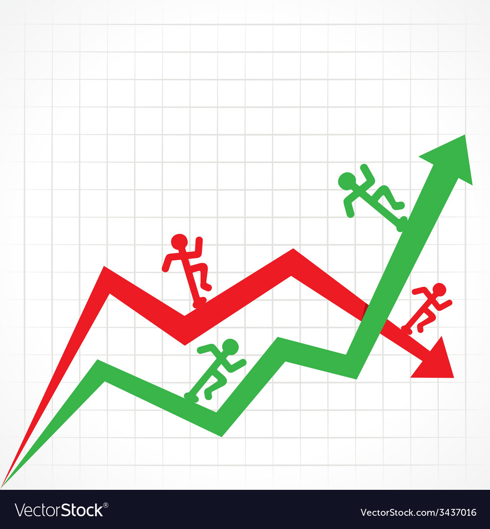 Up and down business graph with running man vector | Price: 1 Credit (USD $1)