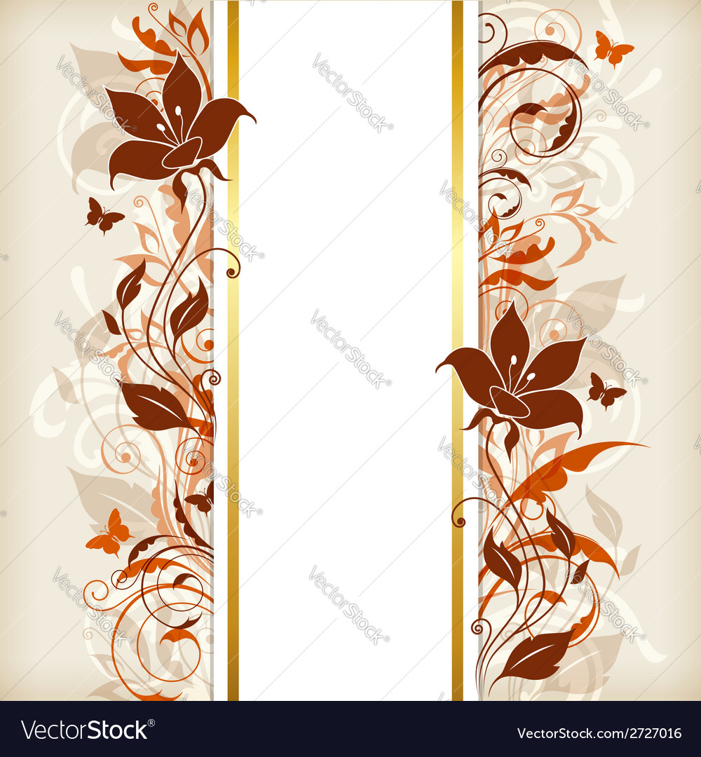 Vertical banner with orange and brown flowers vector
