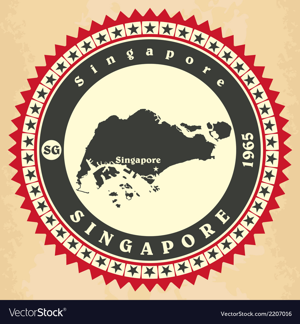 Vintage label-sticker cards of singapore vector | Price: 1 Credit (USD $1)
