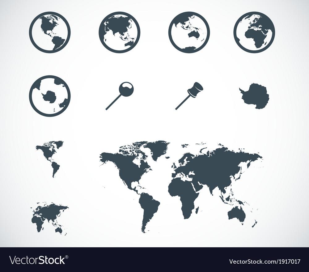 Black world map icons set vector | Price: 1 Credit (USD $1)