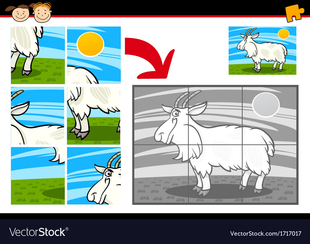 Cartoon goat jigsaw puzzle game vector | Price: 1 Credit (USD $1)