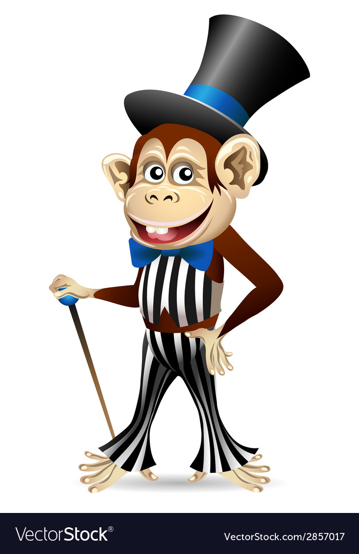 Cheerful monkey in dandy clothes vector | Price: 1 Credit (USD $1)