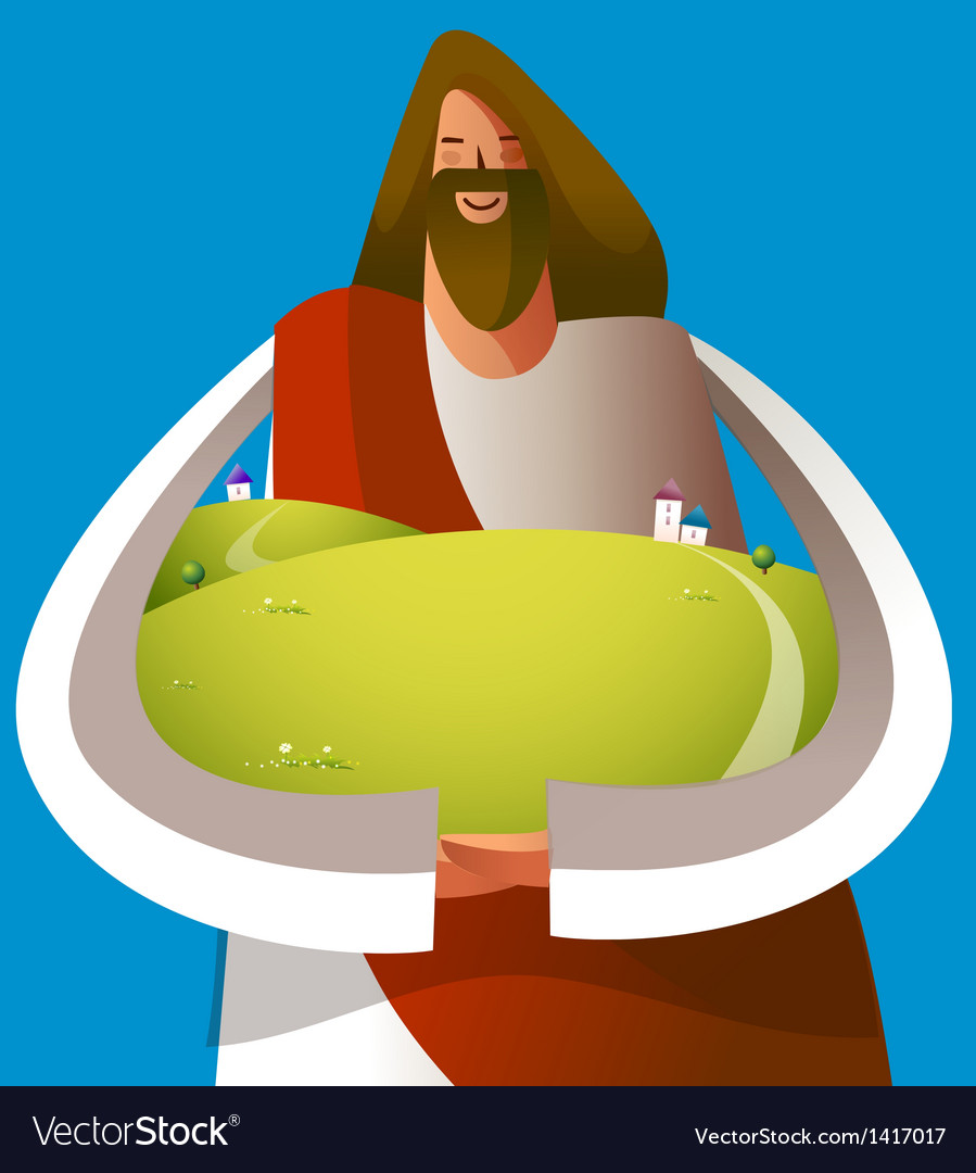 Close-up of jesus christ holding grassland vector | Price: 1 Credit (USD $1)