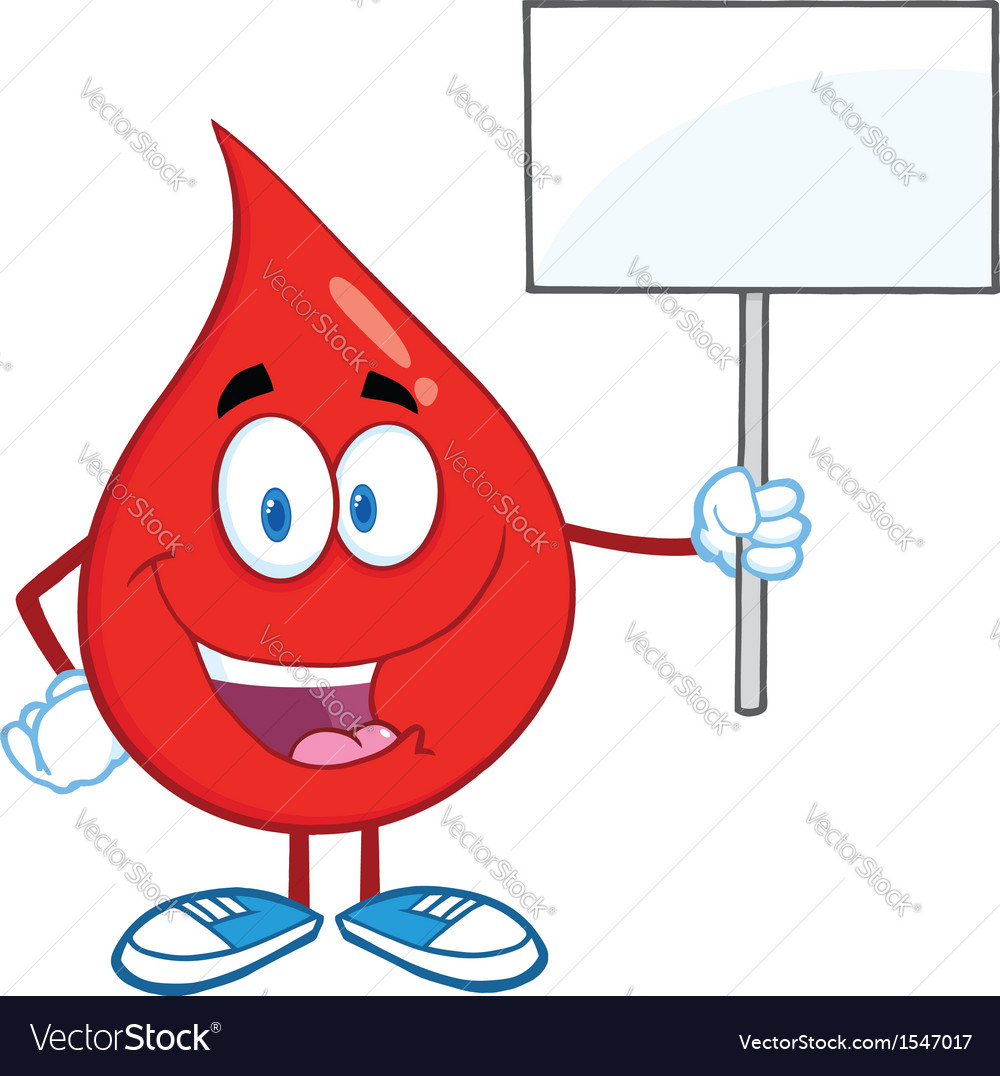 Drop of blood cartoon character vector | Price: 1 Credit (USD $1)