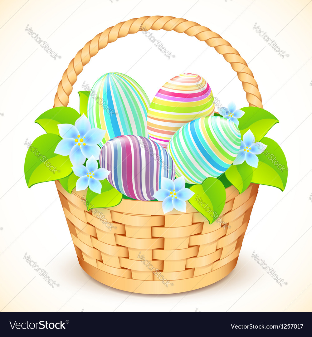 Easter bucket with flowers and decorated eggs vector   Price: 1 Credit (USD $1)