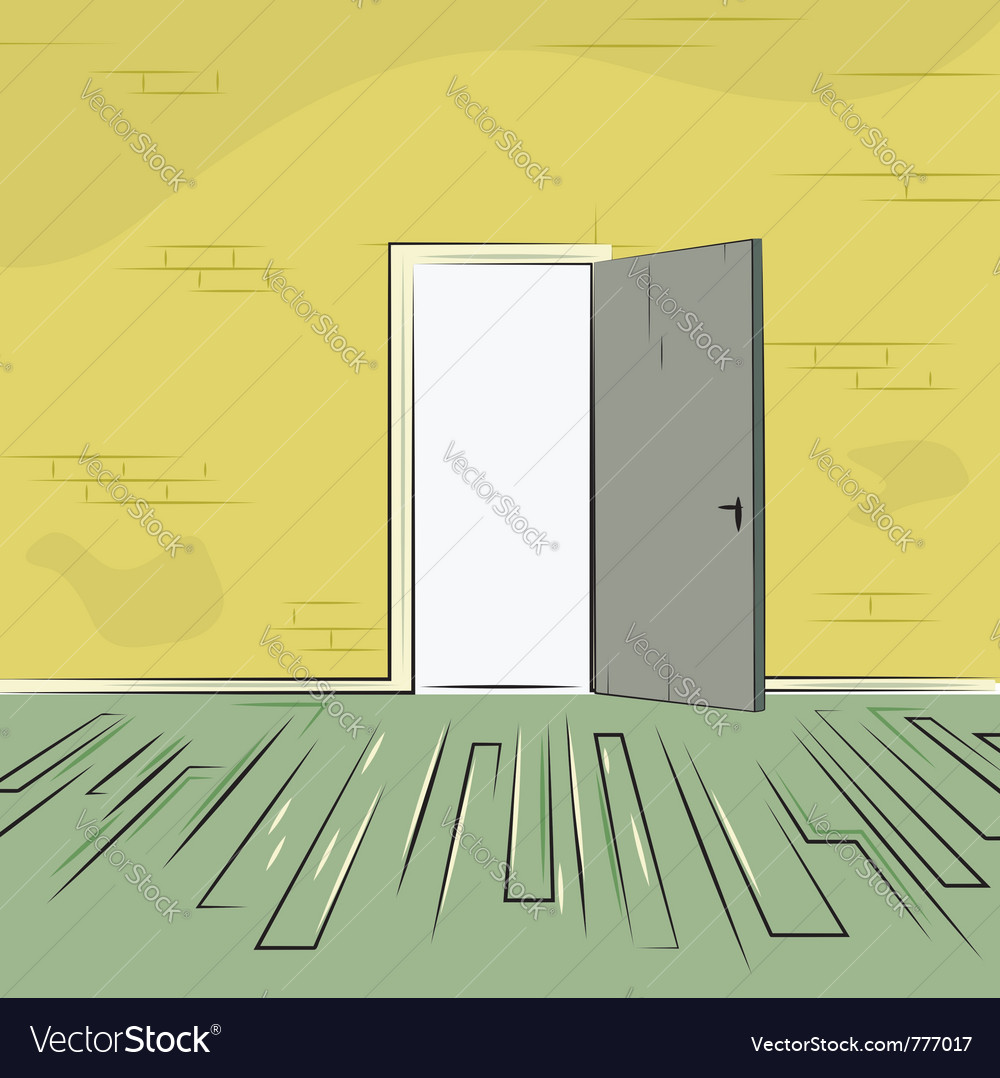 Exit door from room with old brick wall and wooden vector | Price: 1 Credit (USD $1)