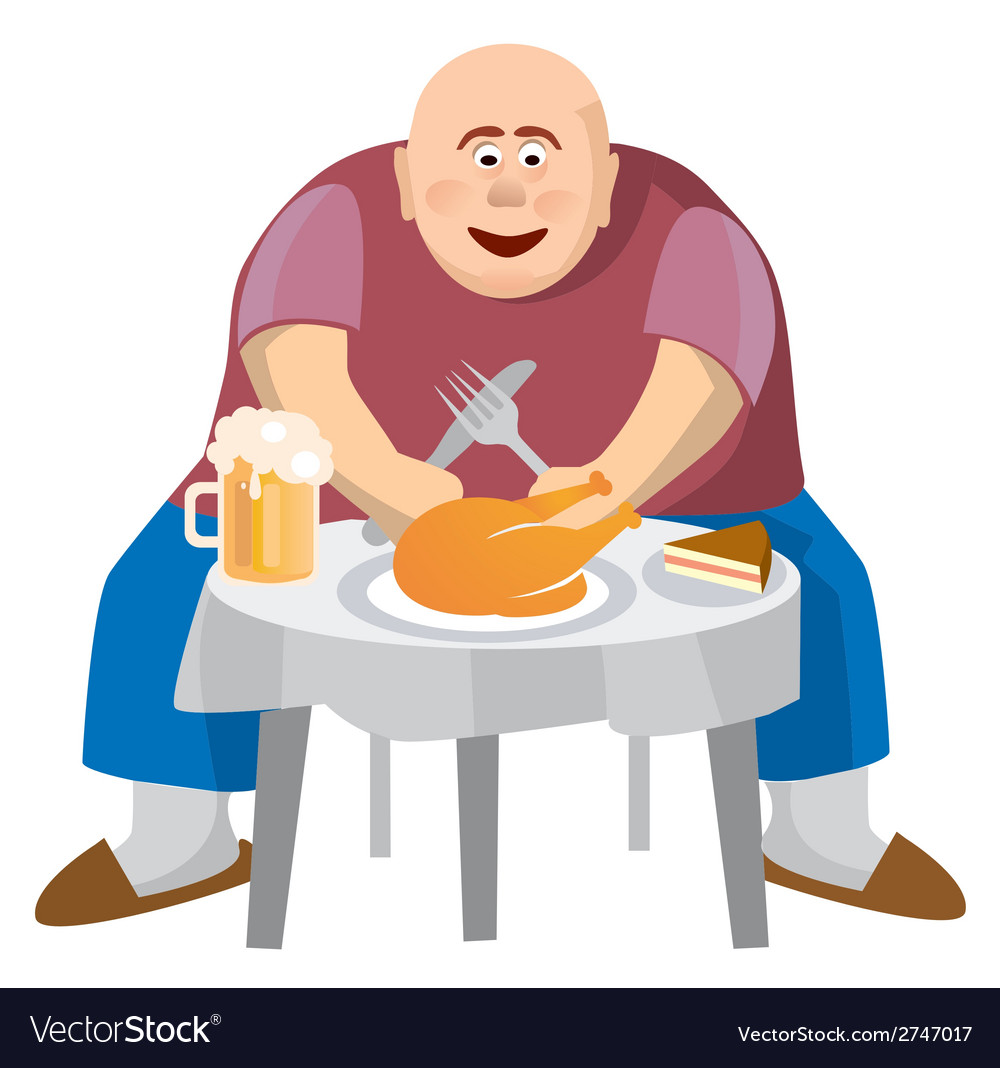 Fatman at a crowded table vector | Price: 3 Credit (USD $3)