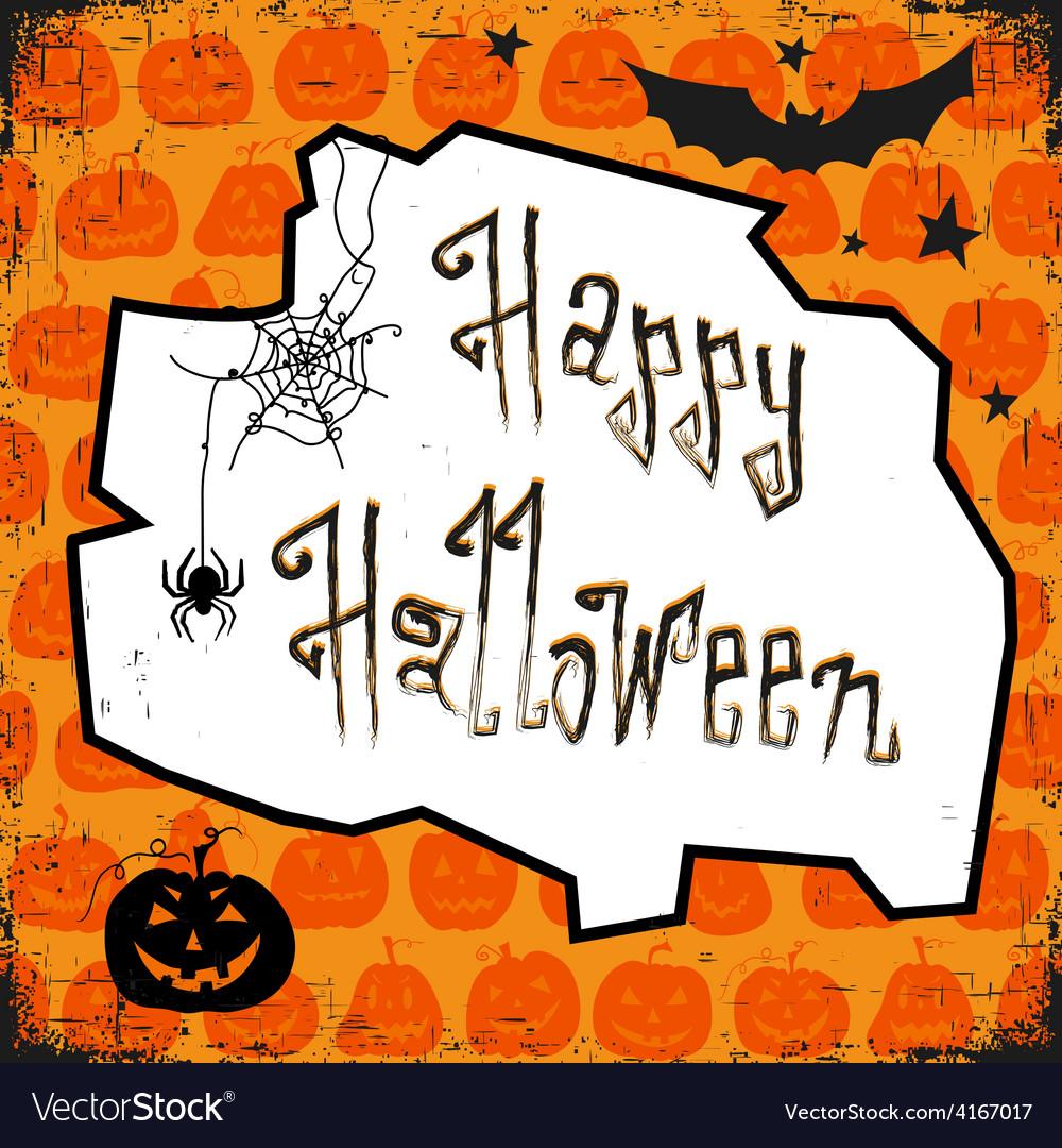 Happy halloween card design template with pumpkin vector | Price: 1 Credit (USD $1)