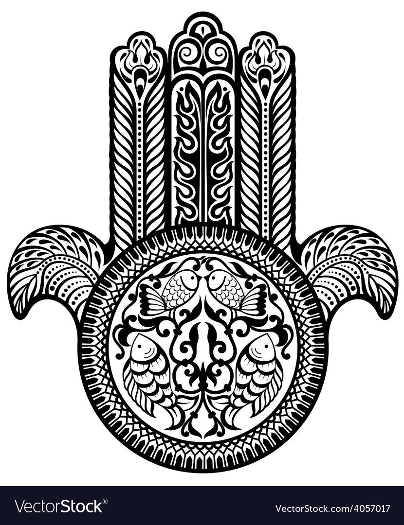 Jewish hamsa sacred amulet vector | Price: 1 Credit (USD $1)