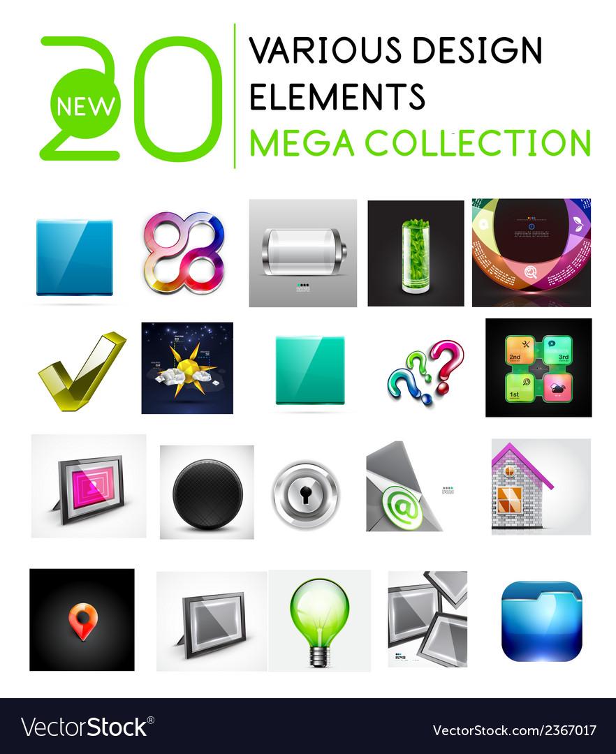 Multipurpose design elements mega collection vector | Price: 1 Credit (USD $1)